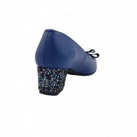 Pantofi dama, SandAli, varf patrat, piele naturala, toc gros imbracat, funda, albastru cu flori albastre