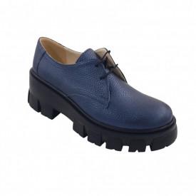 Pantofi oxford dama, SandAli, piele naturala bizon, talpa cu crampoane, bleumarin