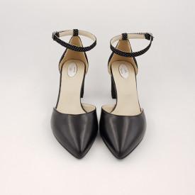 Pantofi sanda dama, piele naturala, toc gros, imbracat, negru cu buline albe