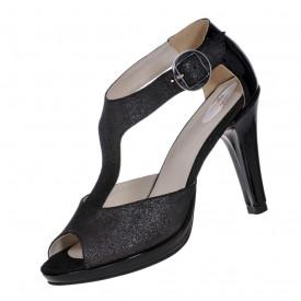 Sandale dama cu platforma piele naturala, negru stralucit, toc cui