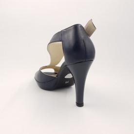 Sandale dama, SandAli, piele naturala, cu platforma, toc cui, bleumarin
