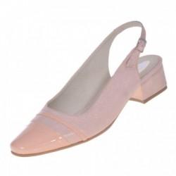 Sandale dama, SandAli, piele naturala intoarsa, piele lacuit, toc gros, bej