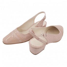 Sandale dama, SandAli, piele naturala intoarsa, piele lacuit, toc gros, bej cu buline lacuit