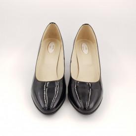 Pantofi dama, SandAli, piele naturala lacuit, toc gros, negru