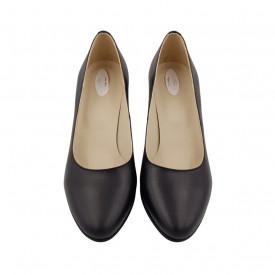 Pantofi dama, SandAli, piele naturala, toc gros imbracat, negru cu flori