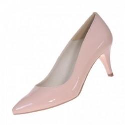 Pantofi dama, SandAli, stiletto, piele naturala lacuit, toc cui, bej, Gabriela