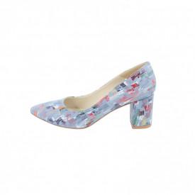 Pantofi dama, SandAli, stiletto, piele naturala, toc gros imbracat, bleo pictat