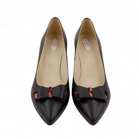 Pantofi dama, SandAli, stiletto, piele naturala, toc gros imbracat, funda, negru cu patratele colorate