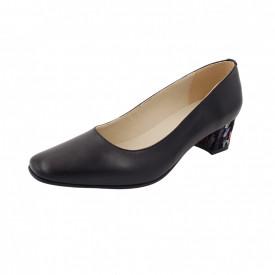 Pantofi dama, SandAli, varf patrat, piele naturala, toc gros imbracat, negru cu patratele colorate