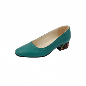 Pantofi dama, SandAli, varf patrat, piele naturala, toc mic gros imbracat, verde cu patratele colorate