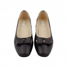 Pantofi dama, SandAli, varf patrat, piele naturala, toc mic gros imbracat, funda, negru cu flori