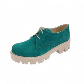 Pantofi oxford dama, SandAli, piele naturala velur, talpa usoara, crampoane mari, verde