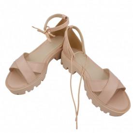 Sandale dama, SandAli, piele naturala, doua barete incrucisate, sireturi colorate, talpa usoara, crampoane, imprimeu bej cu linii aurii