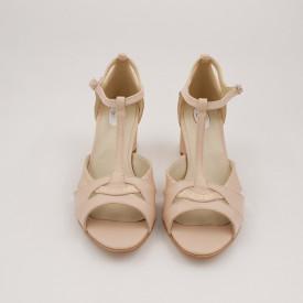 Sandale dama, varf decupat, piele naturala, toc gros, bej cu linii aurii