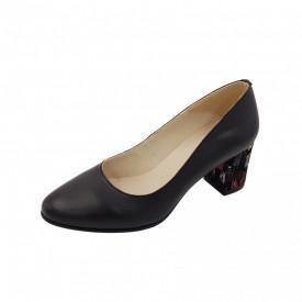Pantofi dama, SandAli, piele naturala, toc gros imbracat, negru pa.c.