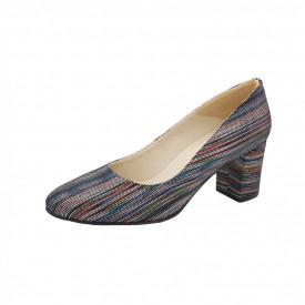 Pantofi dama, SandAli, piele naturala, toc gros, linii colorate