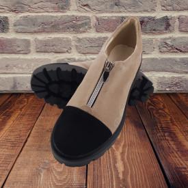 Pantofi dama, SandAli, piele naturala velur, cu fermoar, talpa usoara, crampoane, bej, negru