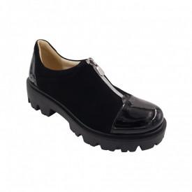 Pantofi dama, SandAli, piele naturala velur, cu fermoar, talpa usoara, crampoane, lacuit, negru