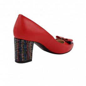 Pantofi dama, SandAli, stiletto, piele naturala, toc gros imbracat, funda, rosu cu linii colorate