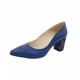 Pantofi dama, SandAli, stiletto, piele naturala, toc gros imbracat, albastru f.a.