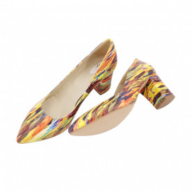 Pantofi dama, SandAli, stiletto, piele naturala, toc gros, picturi colorate