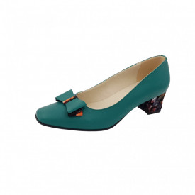 Pantofi dama, SandAli, varf patrat, piele naturala, toc gros imbracat, funda, verde cu patratele colorate