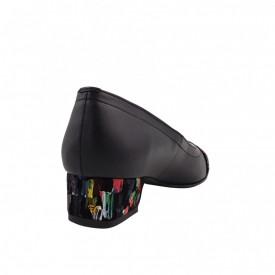 Pantofi dama, SandAli, varf patrat, piele naturala, toc mic gros imbracat, bareta, negru cu patratele colorate