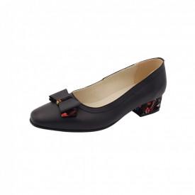 Pantofi dama, SandAli, varf patrat, piele naturala, toc mic gros imbracat, funda, negru pa.c.