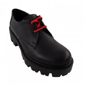Pantofi oxford dama, SandAli, piele natura bizon, talpa usoara, crampoane mari, negru cu sireturi rosii