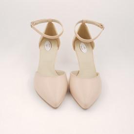 Pantofi sanda dama, piele naturala, toc cui, imbracat, bej cu linii aurii