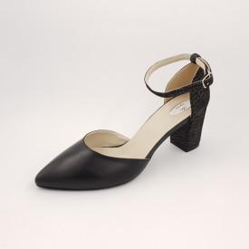 Pantofi sanda dama, piele naturala, toc gros, imbracat, negru cu buline maro alb