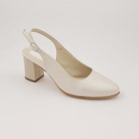 Sandale dama, piele naturala, toc gros, bej sidef box