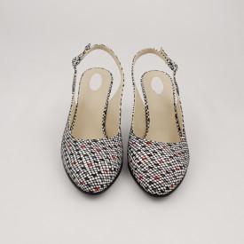 Sandale dama, piele naturala, toc gros, imbracat, alb, negru, rosu