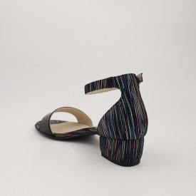 Sandale dama, piele naturala, toc mic gros, negru cu dungi colorate
