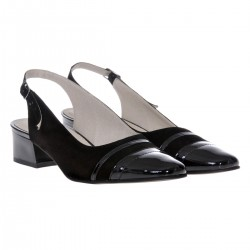 Sandale dama, SandAli, piele naturala intoarsa, piele lacuit, toc gros, negru,