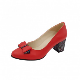 Pantofi dama, SandAli, piele naturala, toc gros imbracat, funda, rosu cu linii colorate