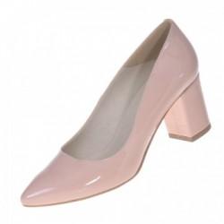 Pantofi dama, SandAli, stiletto, piele naturala lacuit, toc gros, bej, Inna