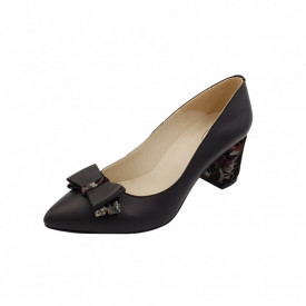 Pantofi dama, SandAli, stiletto, piele naturala, toc gros imbracat, funda, negru cu flori