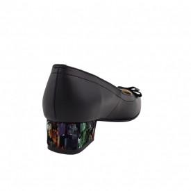Pantofi dama, SandAli, varf patrat, piele naturala, toc mic gros imbracat, funda, negru cu patratele colorate
