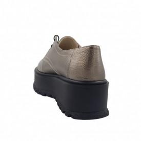 Pantofi oxford dama, SandAli, piele naturala bizon, talpa inalta, bronz