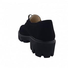 Pantofi oxford dama, SandAli, piele naturala velur, talpa usoara, crampoane mari, negru