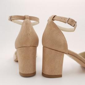 Pantofi sanda dama, piele naturala, toc gros, imbracat, bej cu puncte