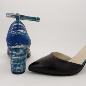 Pantofi sanda dama, piele naturala, toc gros, imbracat, negru cu argintiu, turcoaz, albastru