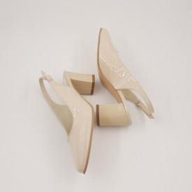 Sandale dama, piele naturala, toc gros, bej lacuit