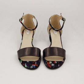 Sandale dama, piele naturala, toc mic gros, negru cu patrate colorate
