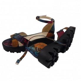 Sandale dama, SandAli, piele naturala, doua barete incrucisate, talpa usoara, crampoane, imprimeu sarpe colorat