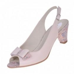 Sandale dama, SandAli, piele naturala, imprimeu, toc gros imbracat cu imprimeu, bej roz, Pamela