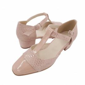 Sandale dama, SandAli, piele naturala intoarsa, piele lacuit, toc gros, bej cu buline