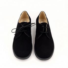 Pantofi clasic, SandAli, unisex, piele naturala intoarsa, negru