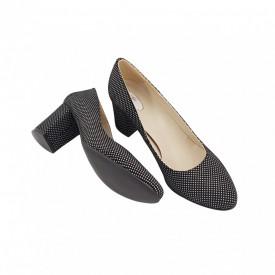Pantofi dama, SandAli, piele naturala, toc gros, negru cu buline albe